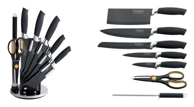 set de couteau sur support 8 pi ces modele croco black rev tement. Black Bedroom Furniture Sets. Home Design Ideas