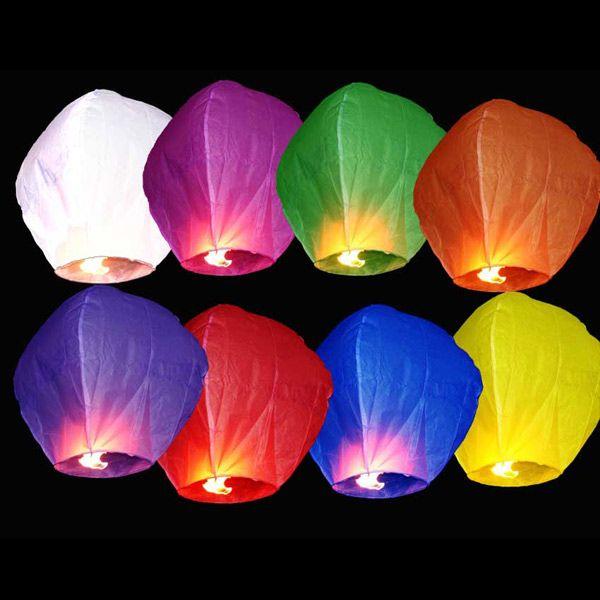 Lot de 10 x lanterne volante tha landaise 1m coloris assortis destockage - Fabriquer des lanternes volantes ...
