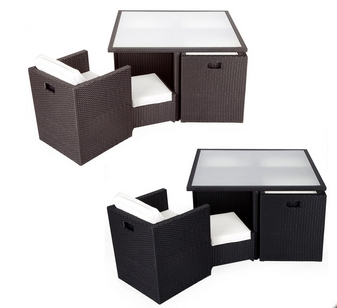Jardin patio ext rieur meubles en rotin de luxe cube set for Meuble en rotin exterieur