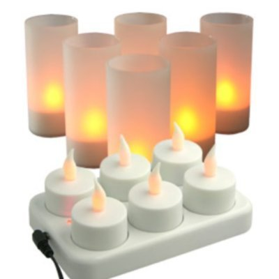 Ensemble 6 bougies Photophores LED rechargeable