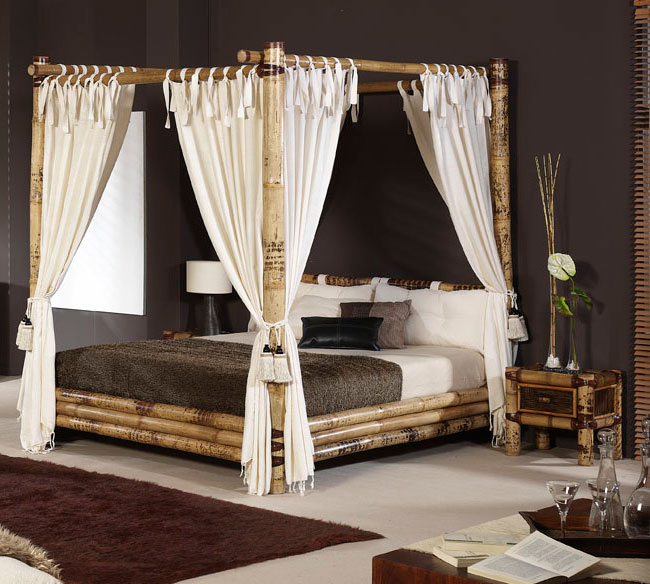 chambre en bambou avec lit a baldaquin destockage grossiste
