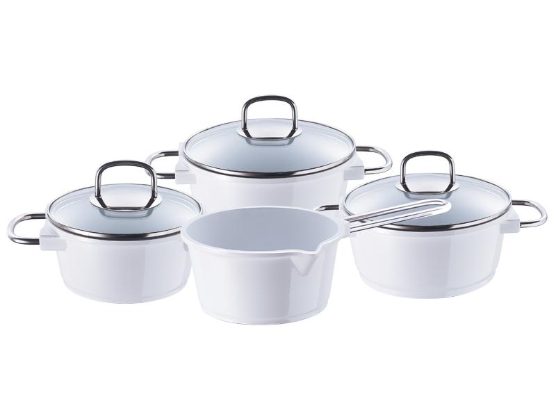 Set de la casserole avec couvercle en verre et en fonte d 39 aluminium - Couvercle casserole en verre ...