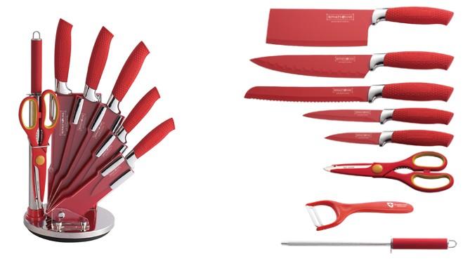 nouveau modele rouge set de couteau 9 pi ces rev tement c ramique. Black Bedroom Furniture Sets. Home Design Ideas