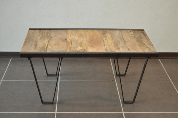 Table basse industrielle bois massif destockage grossiste - Destockage table basse ...