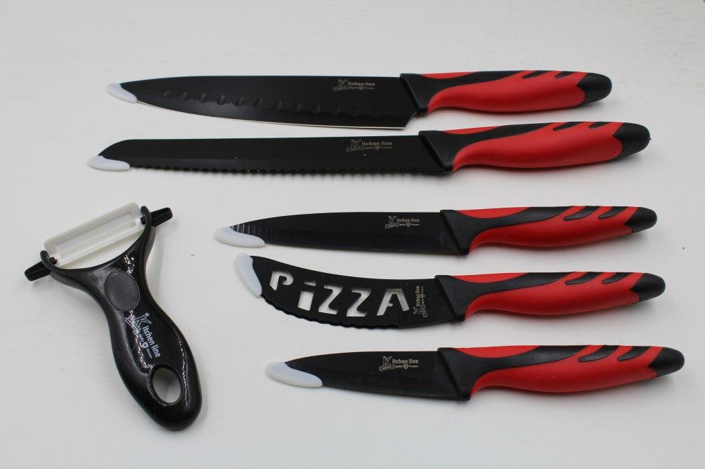 set de couteau rev tement c ramique kitchen line inclus couteau. Black Bedroom Furniture Sets. Home Design Ideas