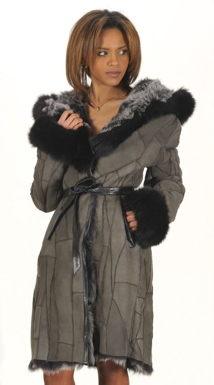 manteau redingote femme en peau lainee de mouton du s au. Black Bedroom Furniture Sets. Home Design Ideas