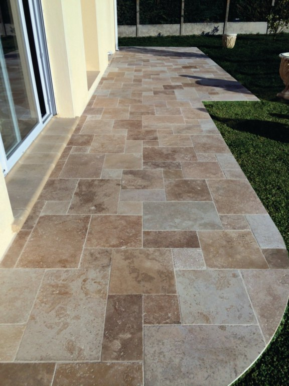 Terrasse Travertin Forum : Carrelage Dallage 3CM Travertin Opus Romain 4T Destockage
