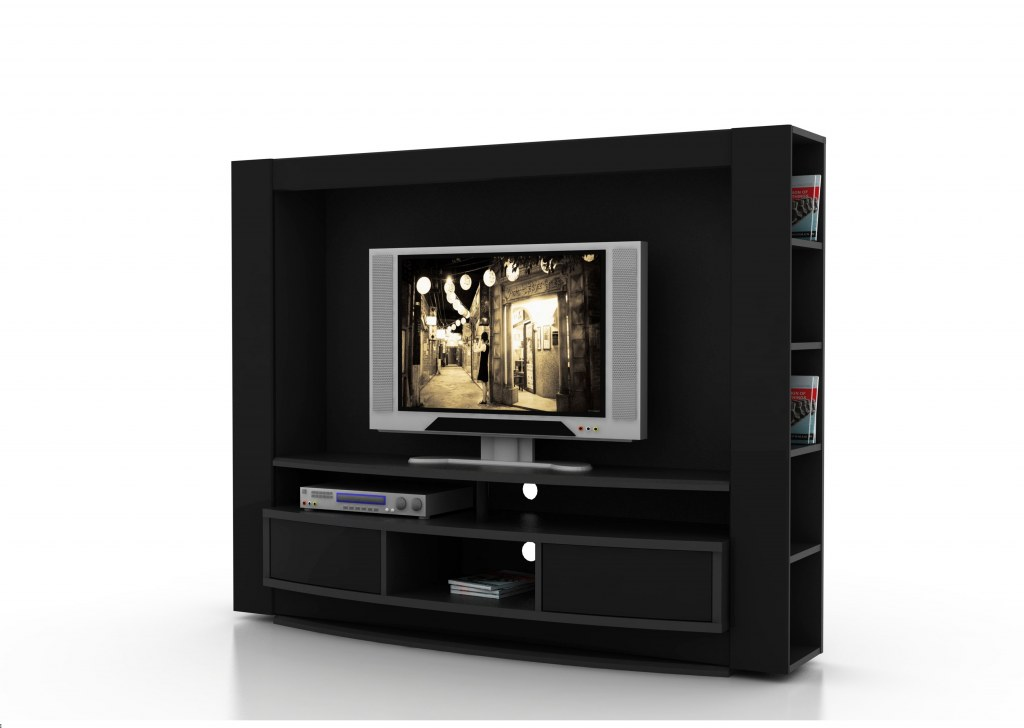 Meuble tv living laque noir design destockage grossiste for Meuble tv design noir