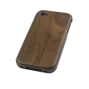 TOP VENTE! - NOYER Bois chocolat Coque en bois véritable pour iPhone 4/ 4S