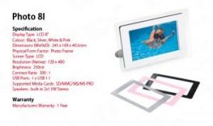 cadre photo numerique 8 pouces multimedia destockage grossiste