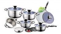 Set de casserole couvercle VERRE coloré - Batterie de Cuisine 16 pieces, Casserole Poele Sauteuse Faitout