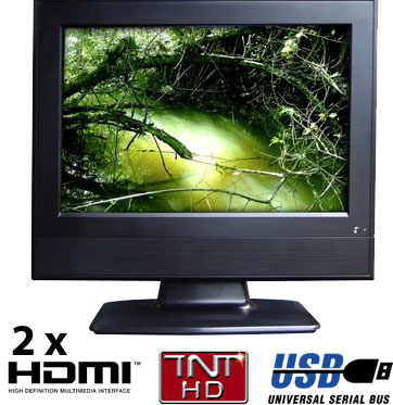 tv lcd hd 19 pouces 48 cm hdmi usb tnt destockage grossiste. Black Bedroom Furniture Sets. Home Design Ideas