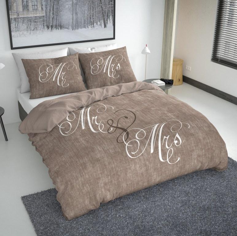 mr mrs duvet cover taupe excellent imex destockage grossiste. Black Bedroom Furniture Sets. Home Design Ideas