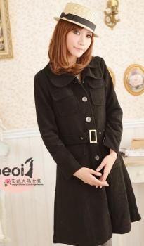 Manteau col revers à boutons multipoches devant Noir