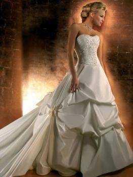 Robe de mariée plissée sans bretelles avec traîne Blanc