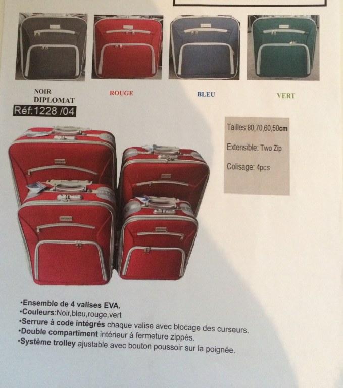 valise diplomat 4pcs prix imbattable destockage grossiste. Black Bedroom Furniture Sets. Home Design Ideas