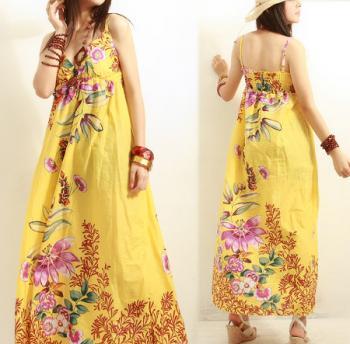 Robe Longue Imprime Fleurs A H Import Export Destockage Grossiste