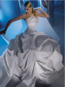 Robe de mariée plissée sans bretelles Blanc