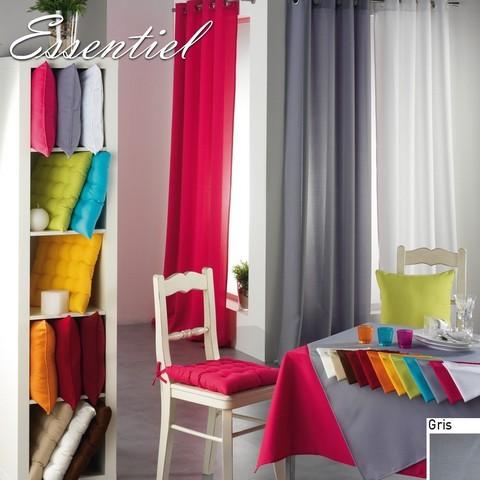 double rideau essentiel gris illets ou passants 140 x. Black Bedroom Furniture Sets. Home Design Ideas