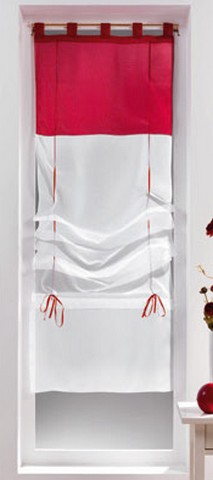 store voilage bicolore blanc rouge 1 x 45 x 180 cm destockage grossiste. Black Bedroom Furniture Sets. Home Design Ideas