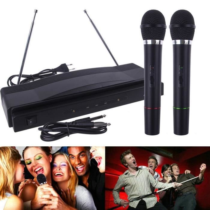 double 2x micro microphone fm sans fil chant dj karaoke spectacle. Black Bedroom Furniture Sets. Home Design Ideas