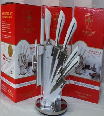 Set couteaux 8 pi ces avec support blanc et noir - Set de couteaux de cuisine ...