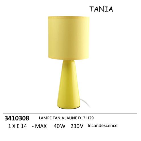Lampe Chevet Tania Jaune H29cm Destockage Grossiste