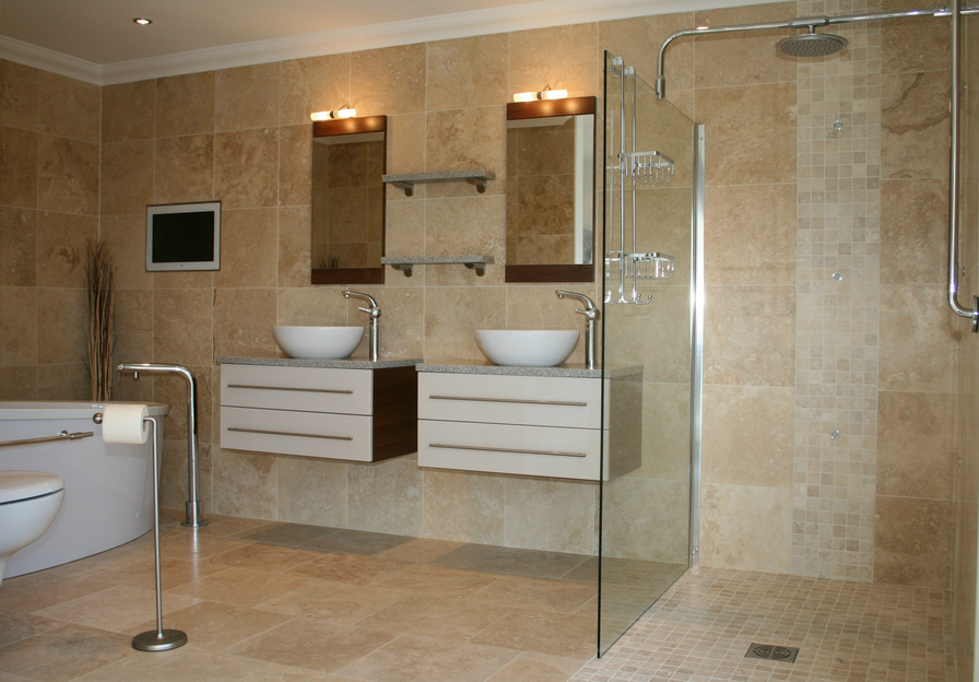 Vente en gros travertin 4040cm cc mix destockage grossiste for Peinture salle de bain naturelle