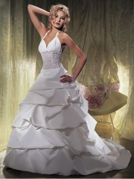 Robe de mariée à volants avec traîne Blanc