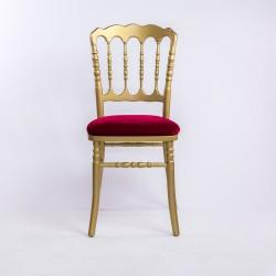 Grossiste chaise napoleon 3 en bois dorée et rouge traitée non feu