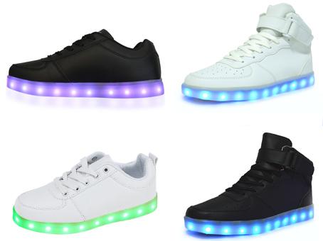 Chaussures led adulte ado enfant, mixtes noir ou blanc