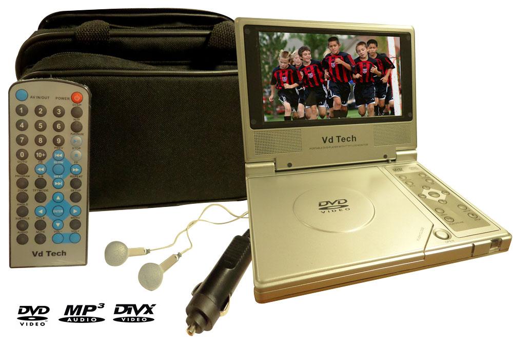 lecteur dvd divx portable 7 18 cm destockage grossiste. Black Bedroom Furniture Sets. Home Design Ideas