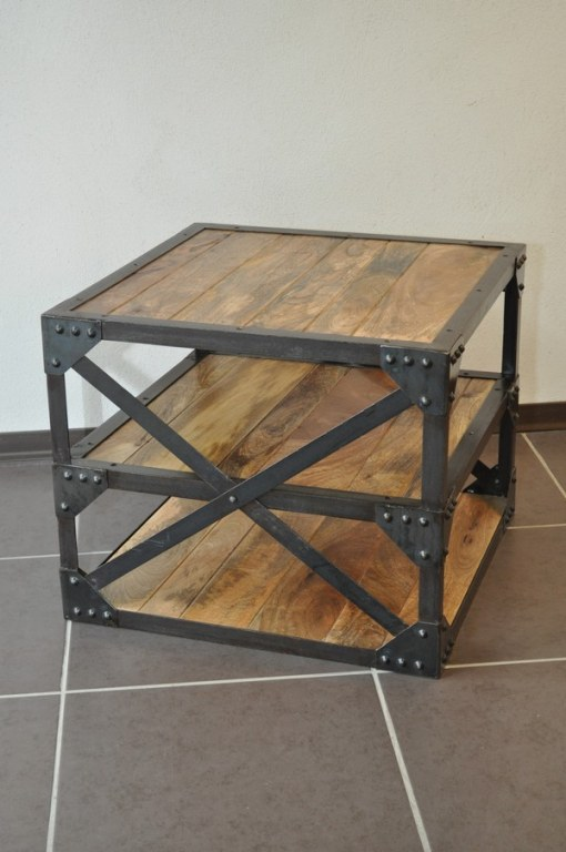 Table basse industrielle d co du diois destockage grossiste - Table basse bois acier ...