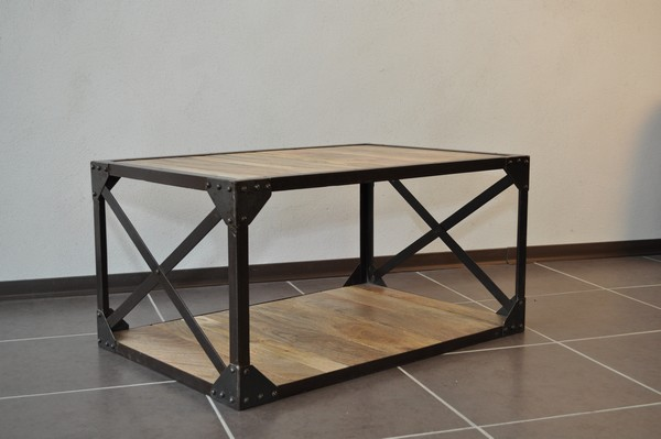 Table Basse Bois Massif Et M Tal Industrielle Destockage