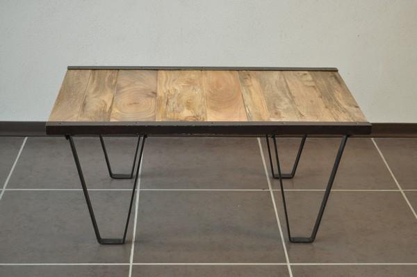 Table basse industrielle bois massif destockage grossiste - Destockage table basse ...