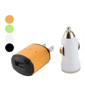 2-in-1 voiture et un chargeur AC pour iPhone et un mobile- Orange, blanc
