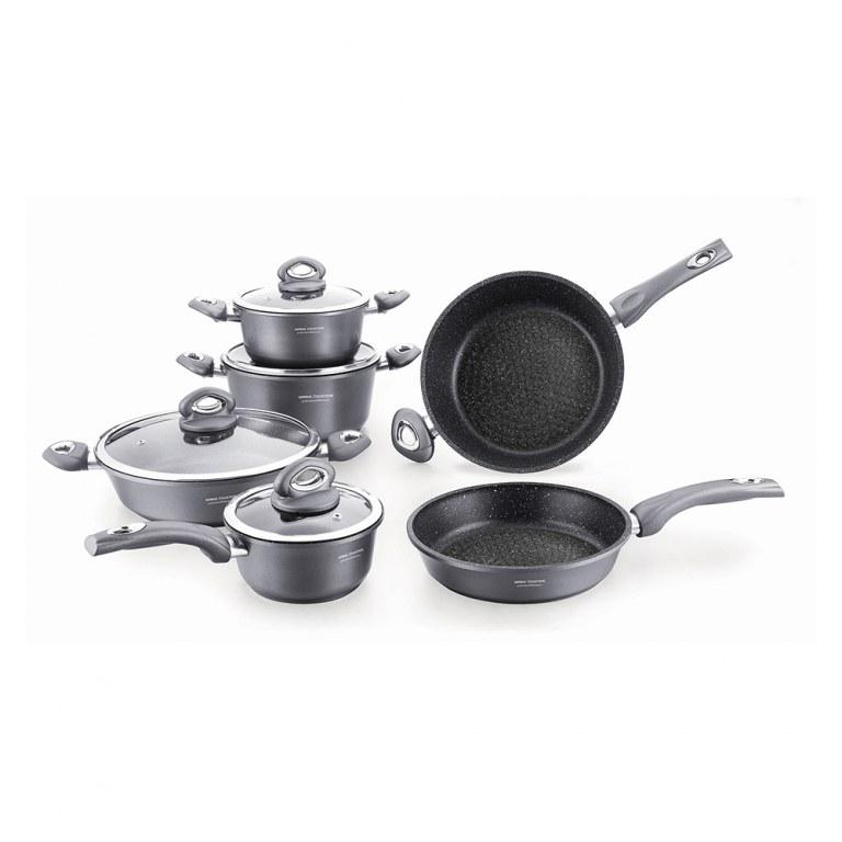 batterie de cuisine 10 pcs marbre rev tement pierre cookware set. Black Bedroom Furniture Sets. Home Design Ideas