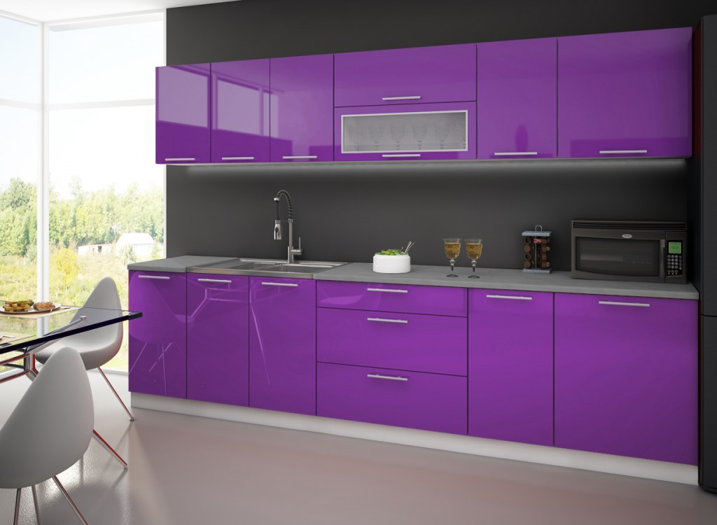 Cuisine complete lyna 3m violet destockage grossiste for Cuisine 3m de long