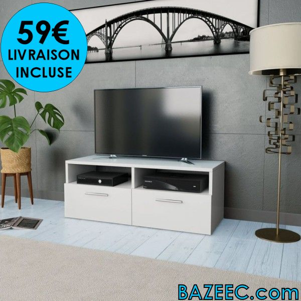Meuble Tv à Haute Brillance Blanc Livr Gratuite Destockage Grossiste