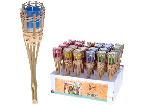 torche de jardin bambou 30cm bougie coloris assortis. Black Bedroom Furniture Sets. Home Design Ideas