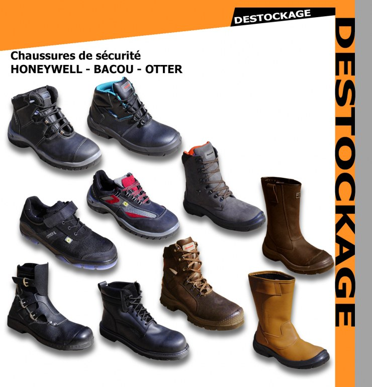 77a56f1eb434b6 Lot chaussures de securite bacou honeywell Destockage Grossiste