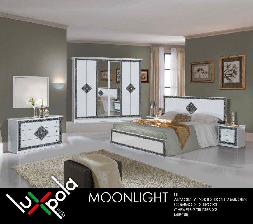 Chambre complete moonlight destockage grossiste for Acheter chambre complete