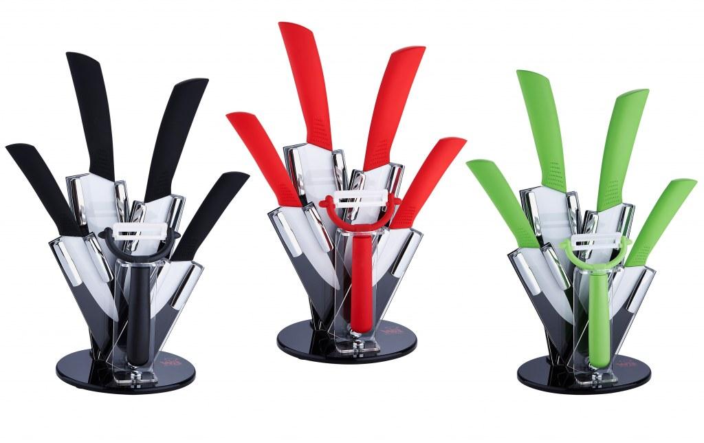 set du couteau en c ramique avec support en acrylique 4 pi ces destockage. Black Bedroom Furniture Sets. Home Design Ideas