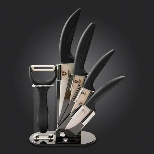 set du couteau 100 c ramique support en acrylique swiss collection. Black Bedroom Furniture Sets. Home Design Ideas