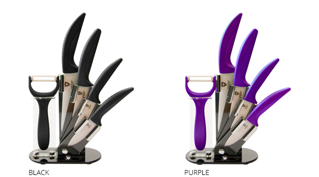 set de couteaux 100 c ramique sur pr sentoir destockage grossiste. Black Bedroom Furniture Sets. Home Design Ideas