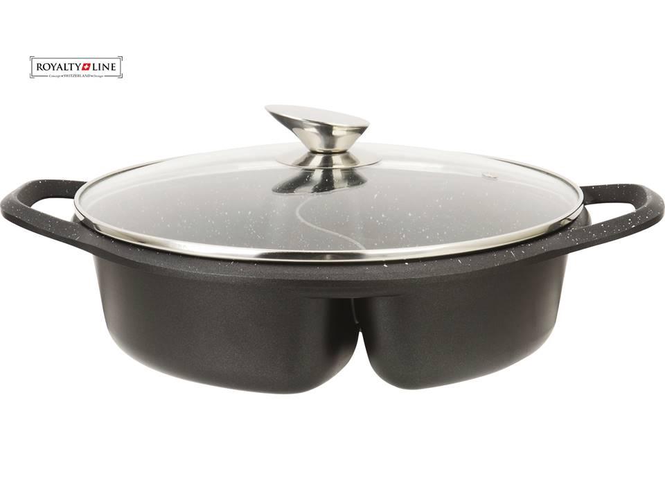 Royalty line rl nbr28m casserole en rev tement marbre avec 2 s parations for Ustensiles de cuisine belgique