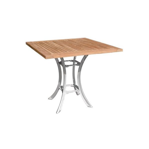 Table en teck et aluminium 70 x 70 cm destockage grossiste for Table largeur 70 cm avec rallonge