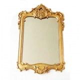 Miroir rectangulaire en résine dorée à la main de style Louis XV 82x54x3 cm