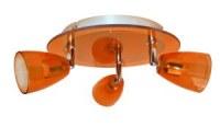 Plafonnier Verre Orange + métal 3x50W GU10 KOBIA