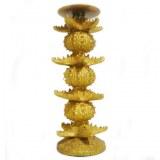 Bougeoir Pique bougie cierge doré avec oursins et étoiles de mer 31.5x13x13 cm